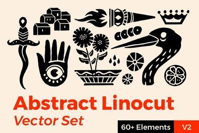 Abstract Linocut Vector Set II