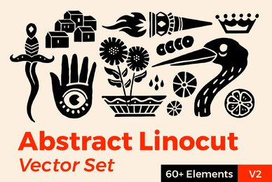 Abstract Linocut Vector Set II