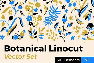 Botanical Linocut Vector Set