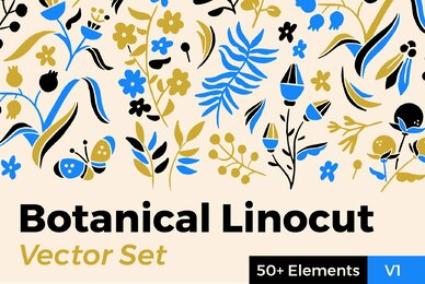 Botanical Linocut Vector Set