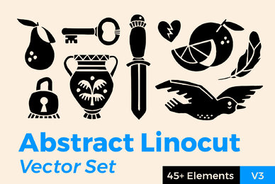 Abstract Linocut Vector Set III
