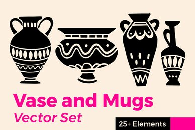 Vase and Mugs Vector Set