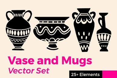 Vase and Mugs Vector Set
