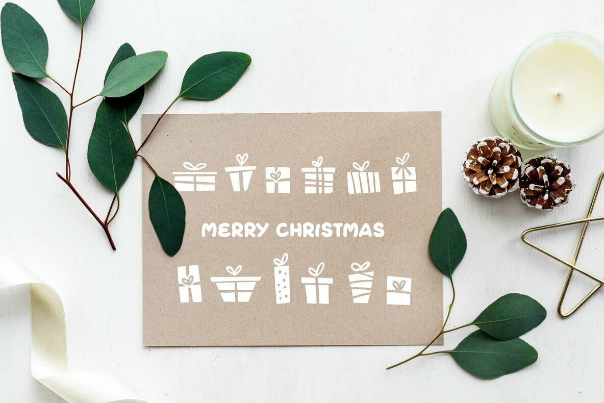 Christmas Linocut Vector Set