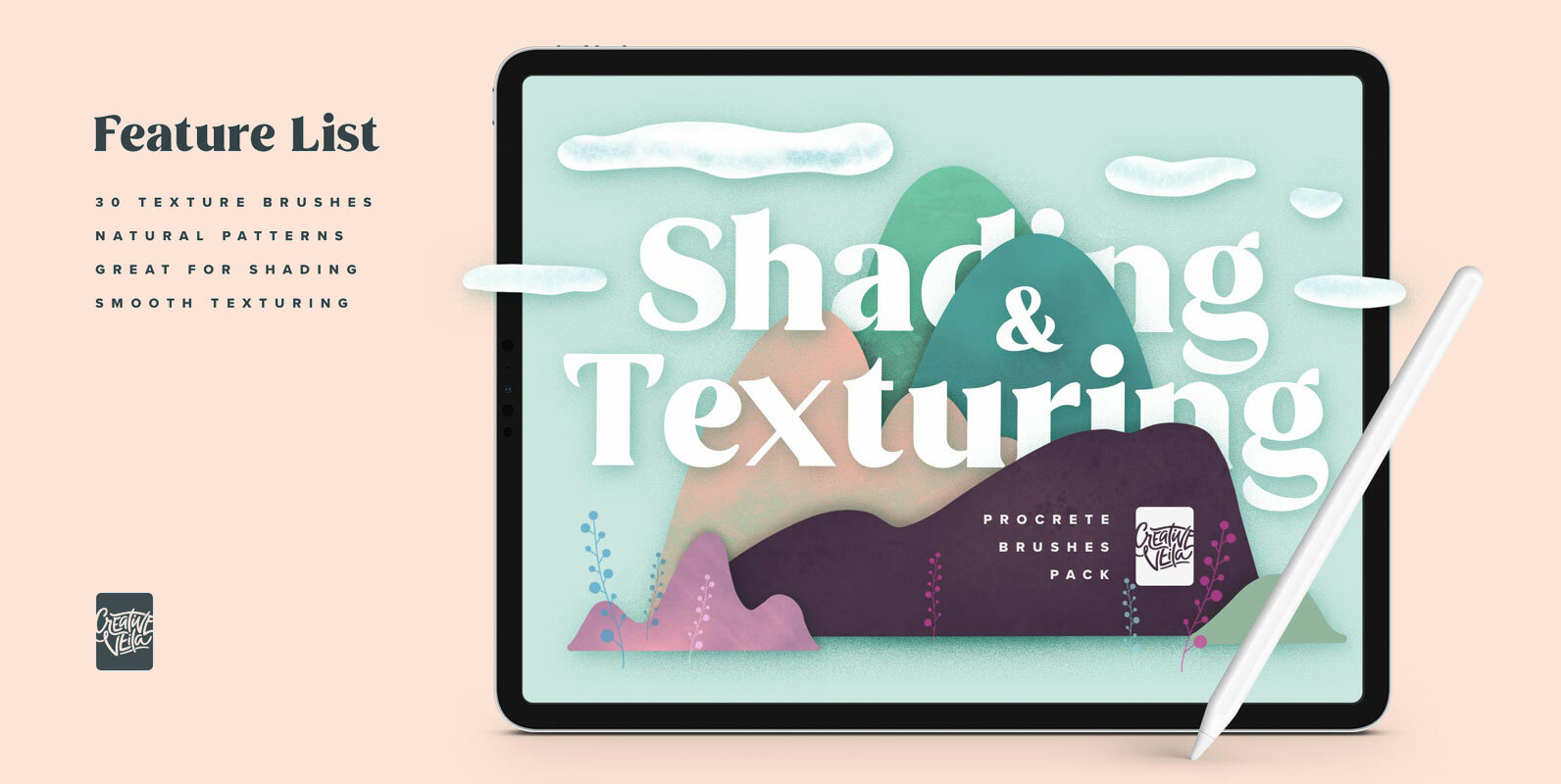 Natural Shading & Texture Procreate Brushes