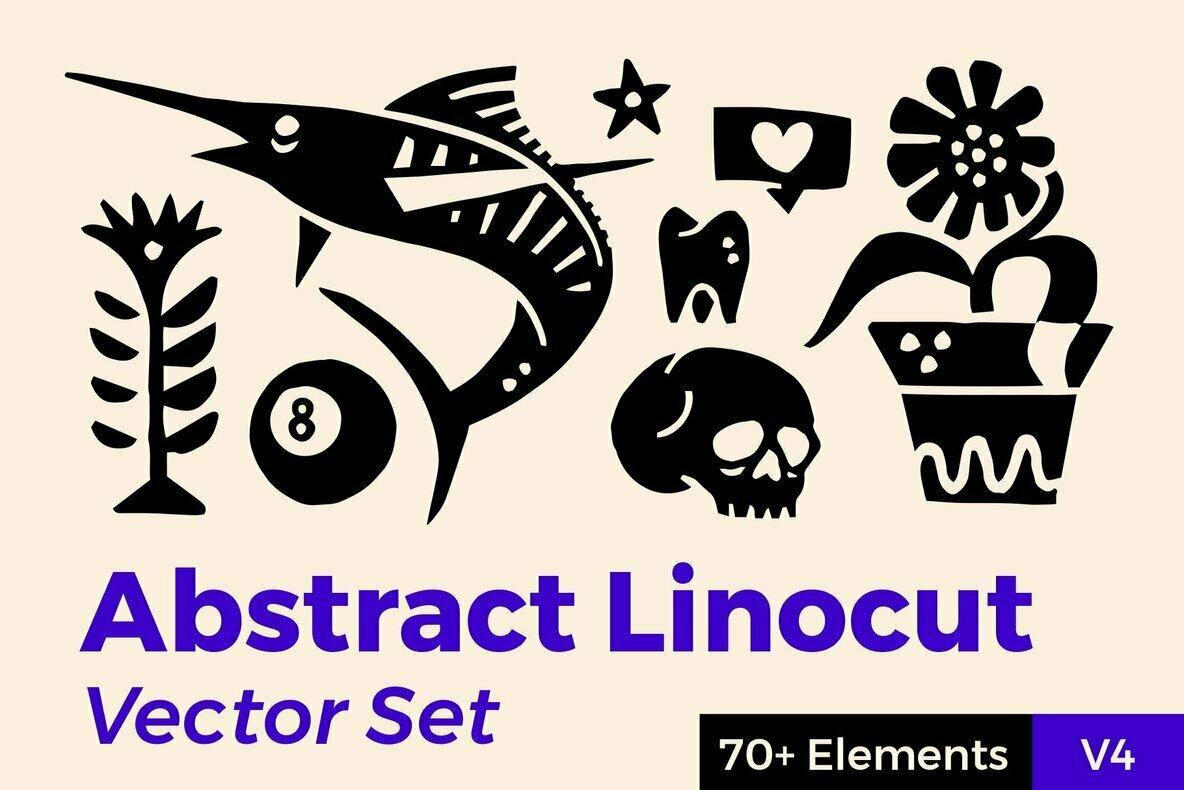 Abstract Linocut Vector Set IV