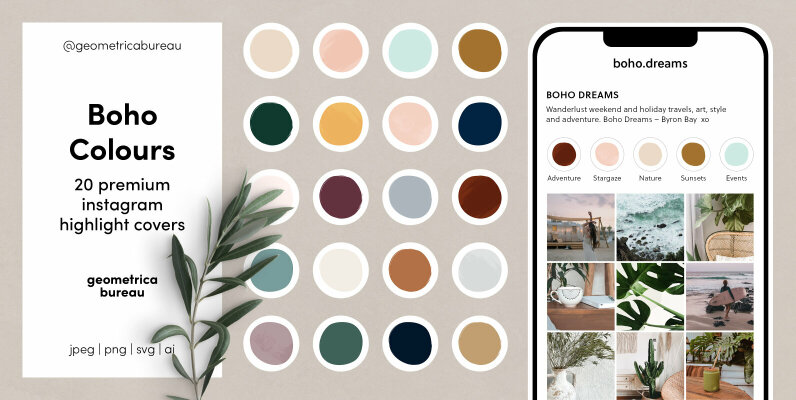 Instagram Highlight Covers Boho Colours