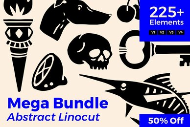 Abstract Linocut Mega Bundle