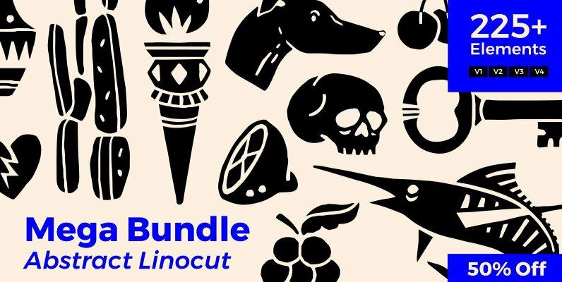 Abstract Linocut Mega Bundle