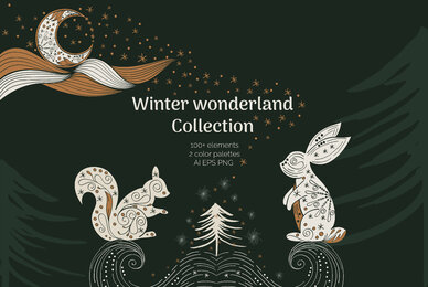 Abstract  Linear Winter wonderland Clipart Collection