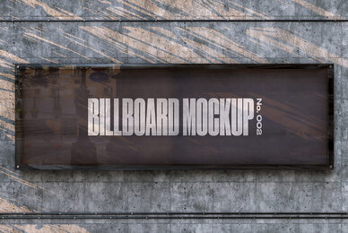 Concrete Wall Billboard Mockup   No  002
