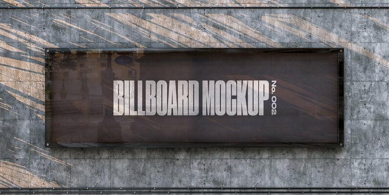 Concrete Wall Billboard Mockup   No  002