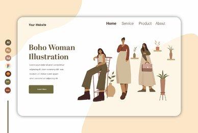 Boho Woman Ilustration Landing page