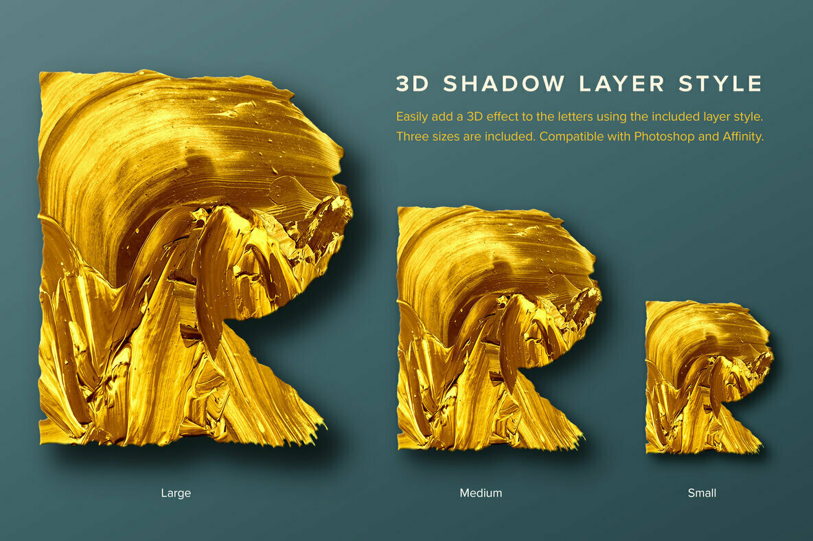 Gold Type     Geometric Gold Paint Alphabet