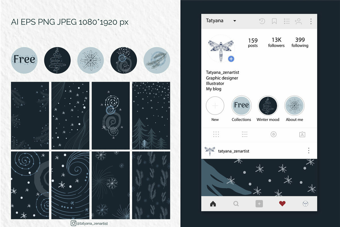 Abstract Winter Social Media Stories Layout