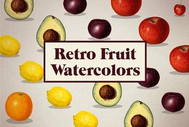 Vintage Fruit Watercolor Illustrations