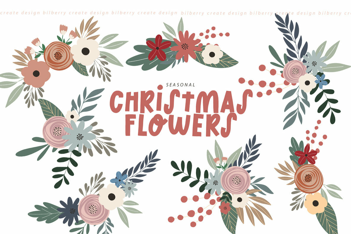 Christmas Flowers Art Set
