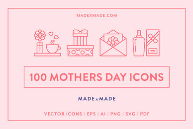 Mothers Day Line Icons