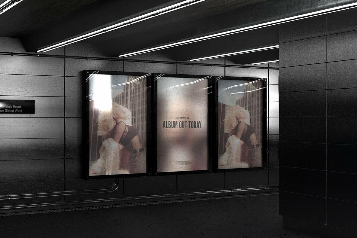 Subway Triple Billboard Mockup   No  006