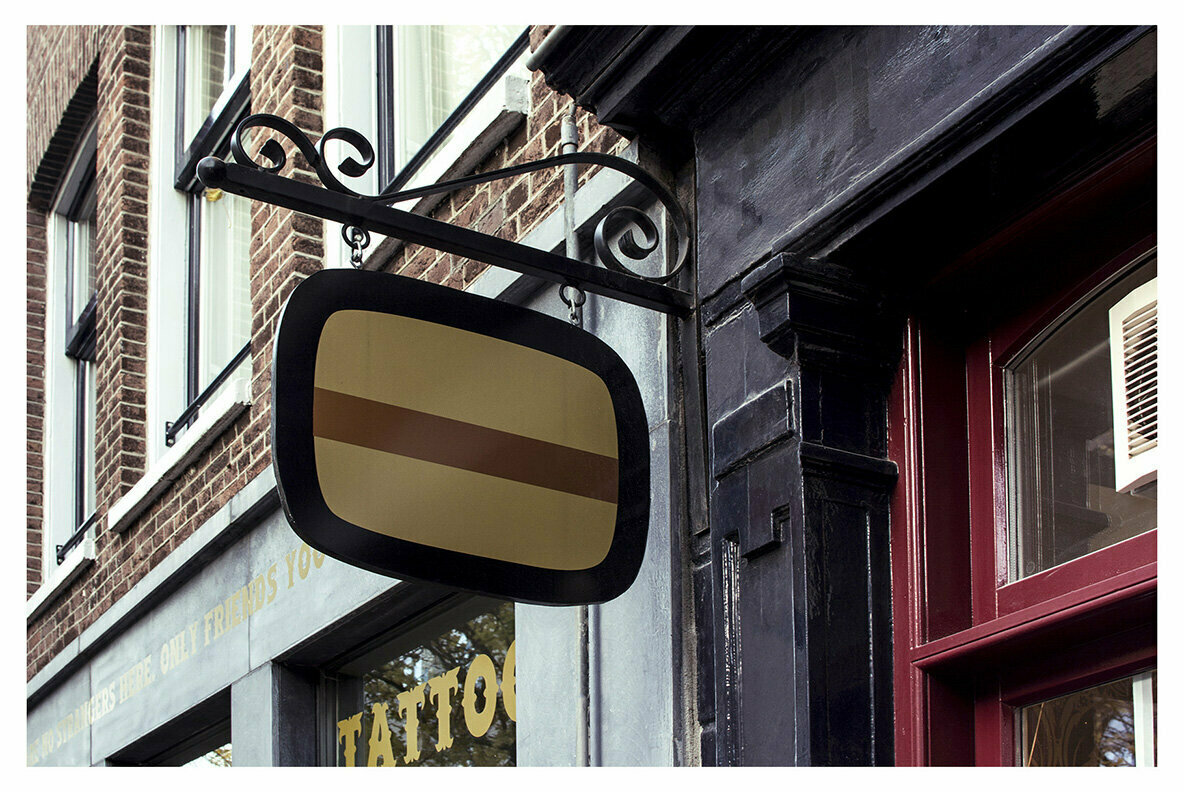 Amsterdam   Realistic Desk Sign Mockups