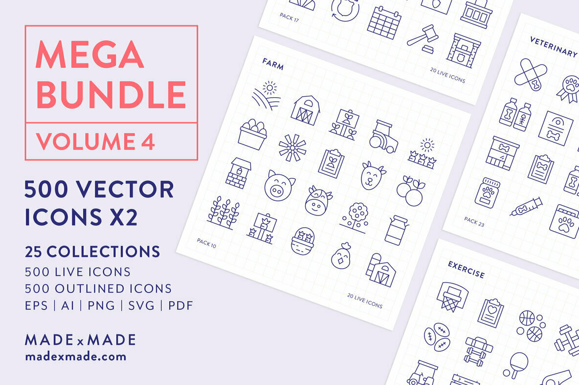 4x Mega Bundle Line Icons