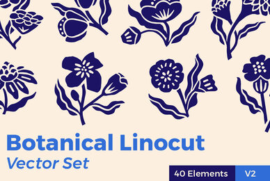 Botanical Linocut Vector Set V2