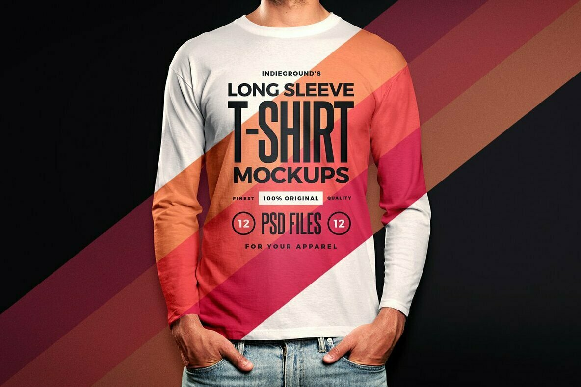 Men Long Sleeve T Shirt Mockups
