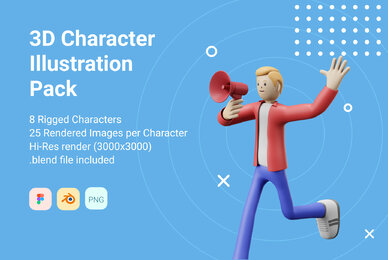 3D Character Pack Illustration