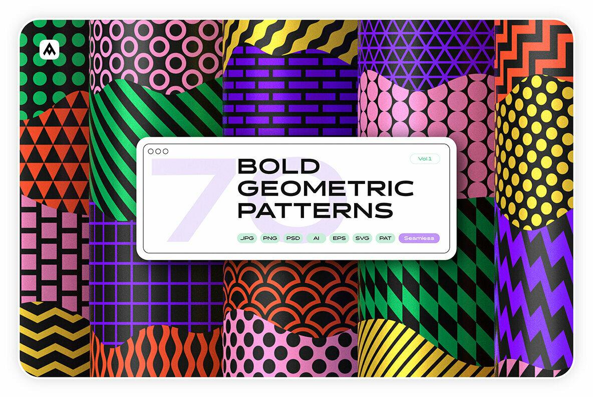 Bold Geometric Seamless Patterns Collection