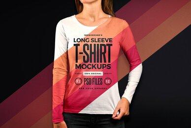 Women Long Sleeve T Shirt Mockups