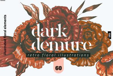 Dark  Demure Floral Illustration Set