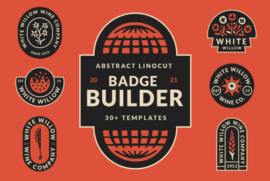 Abstract Linocut Badge Builder