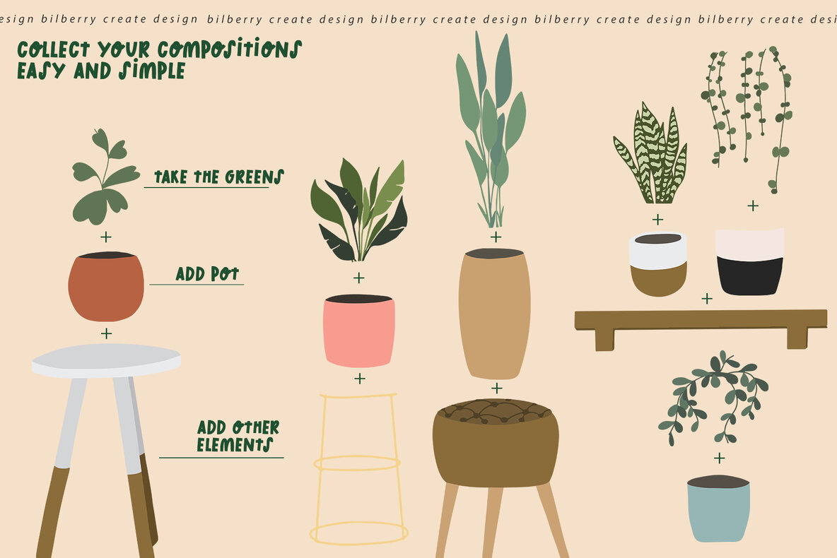 Home Potted Plant Art Set