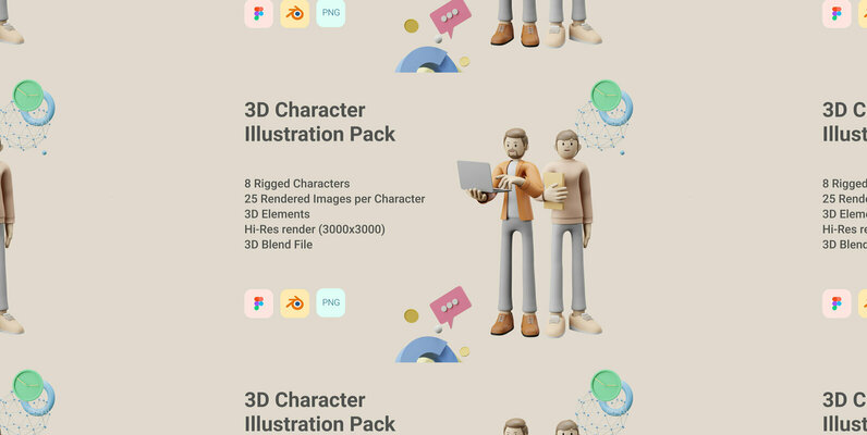 3D Character Pack Illustration   3D Elements Object