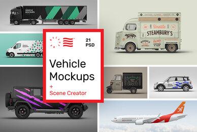 Vehicle Mockups   Car  Plane Mockups