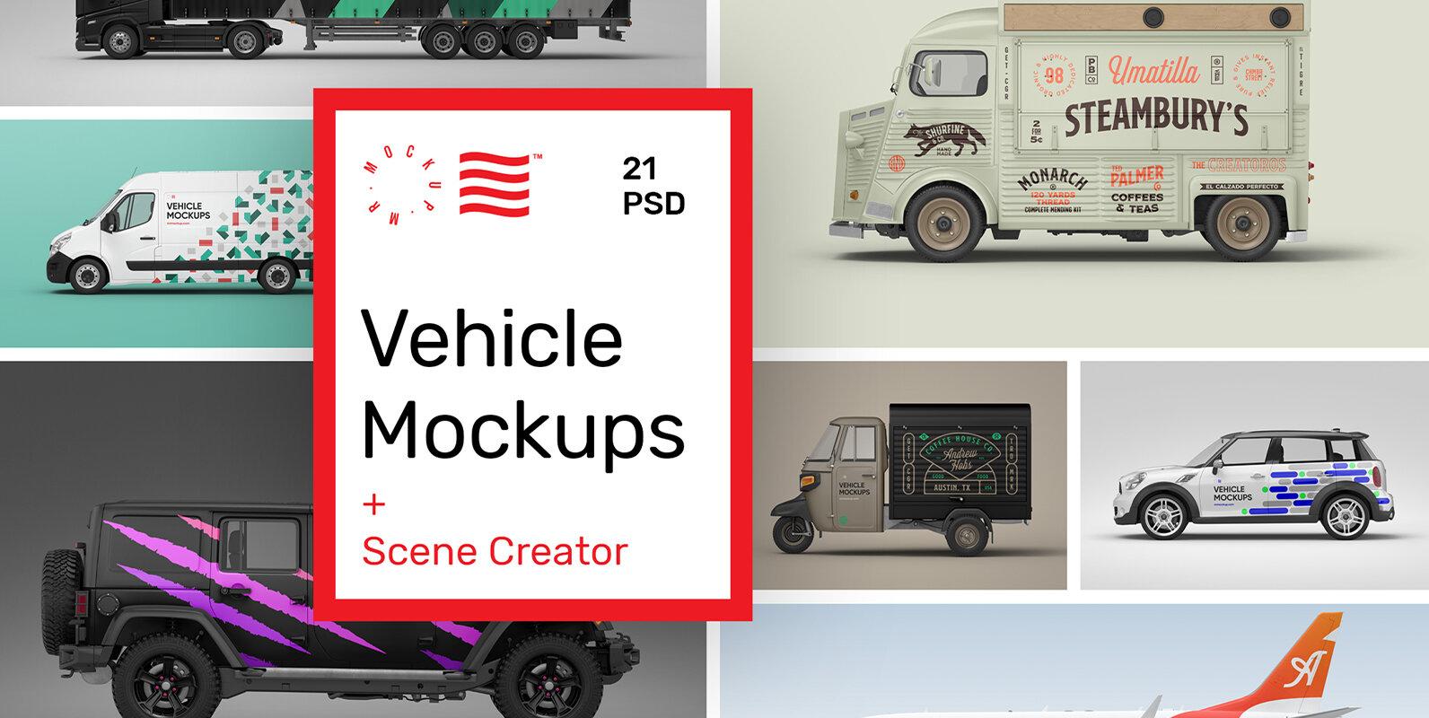 Vehicle Mockups - Car & Plane Mockups