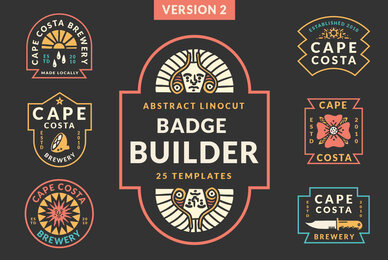 Abstract Linocut Badge Builder V2