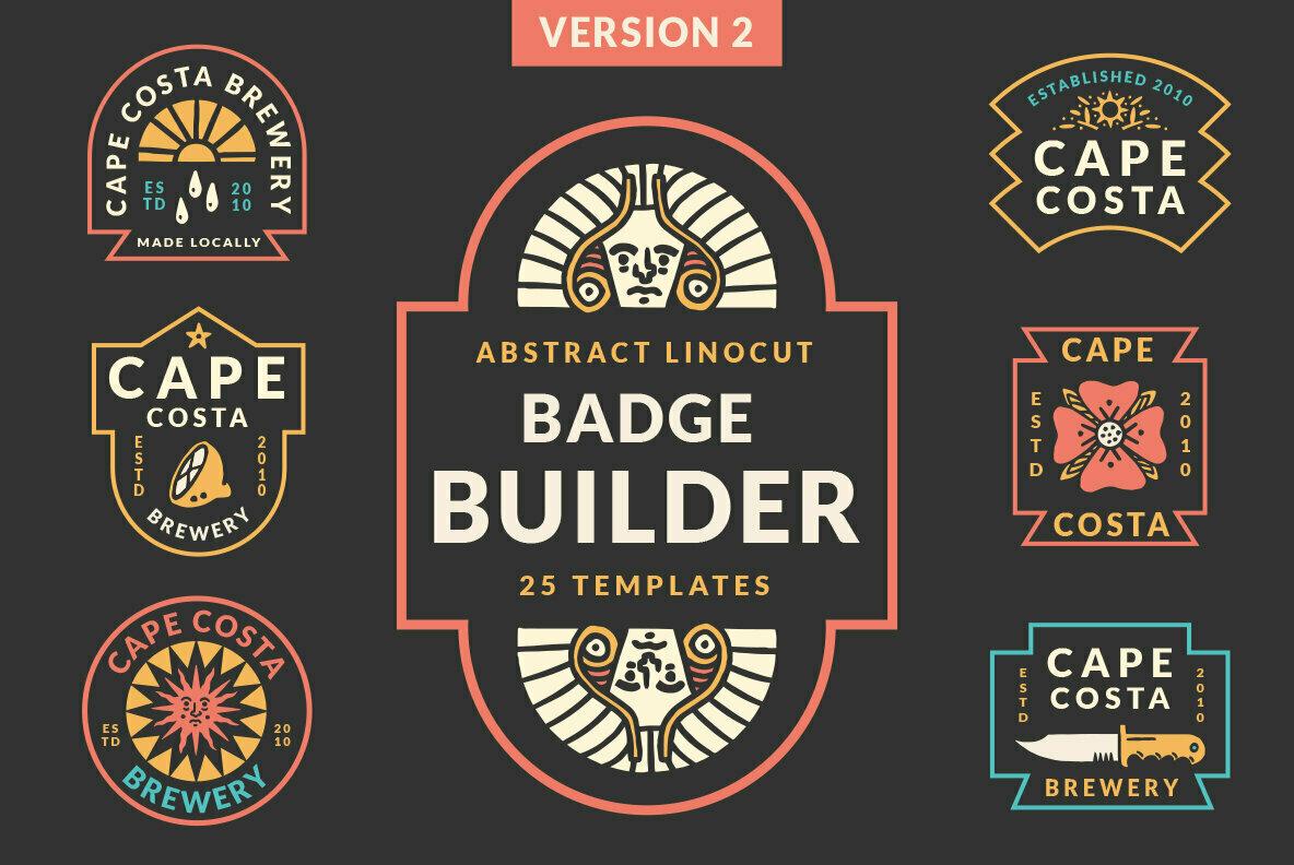 Abstract Linocut Badge Builder V2