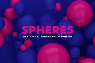 Abstract 3D Rendering of Spheres   Blue and Pink