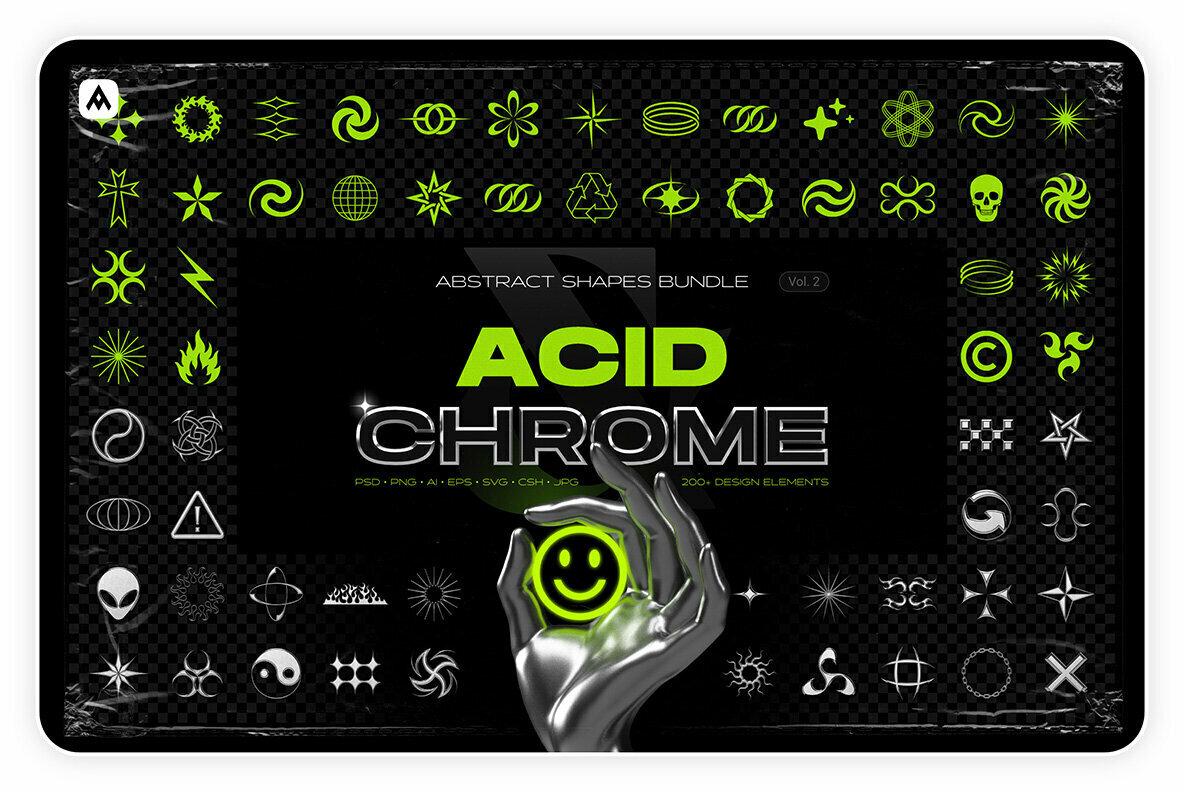 Acid   Chrome Abstract Shapes Bundle