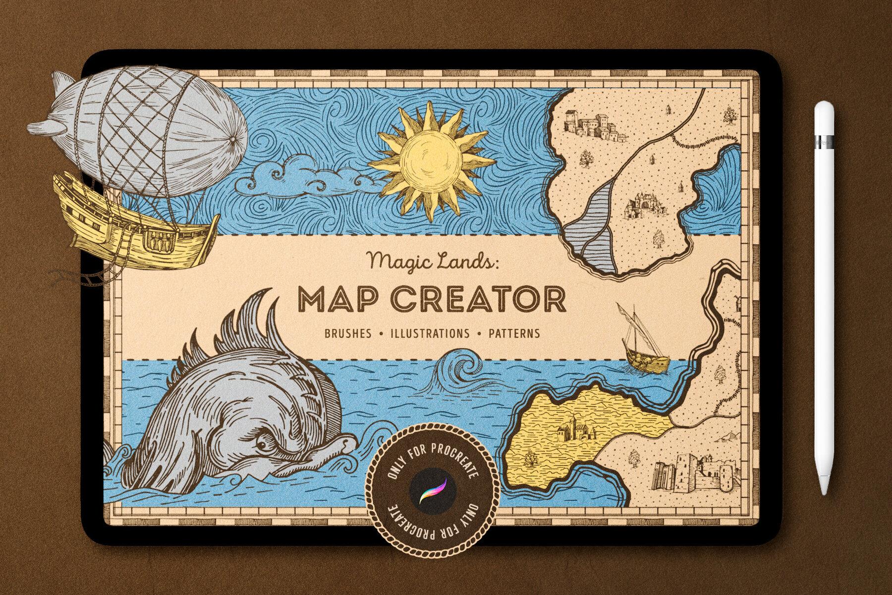 Vintage Map Procreate Brushes