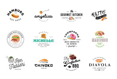 12 Food Industry Logos Hand Painted