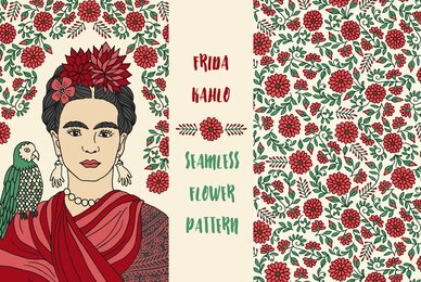 Portrait of Frida and Flower Pattern