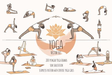 Yoga Asanas Vector Set