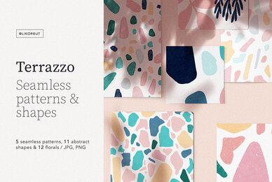 Terrazzo Seamless Patterns  Shapes Vol 1