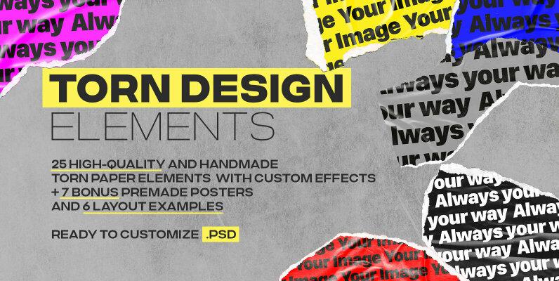 Torn Design Paper Elements