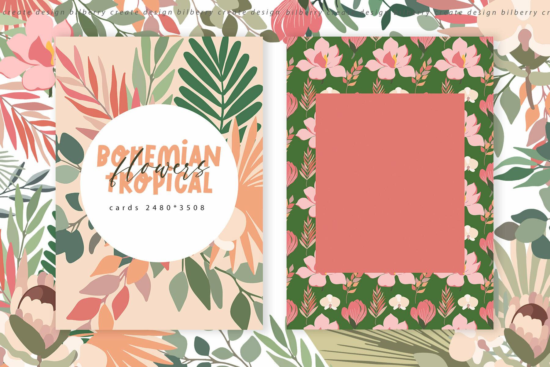 Bohemian Tropical Flowers Art Set