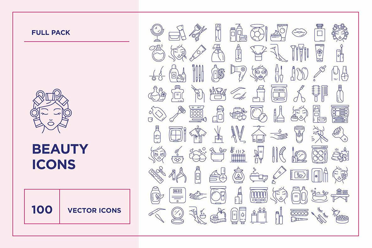 Beauty and Cosmetics Icon Set