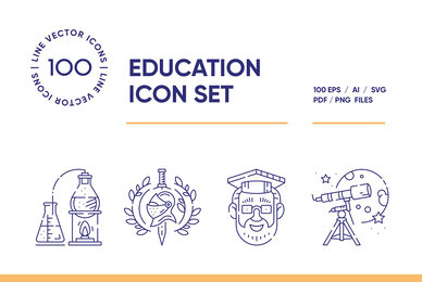 Education and Science Icon Set