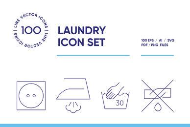 Laundry Symbols Icon Set